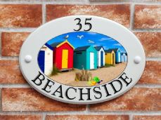 Beach huts sign